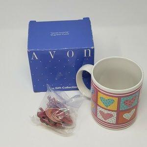 Avon Patchwork Heart Coffee Mug Secret Surprise